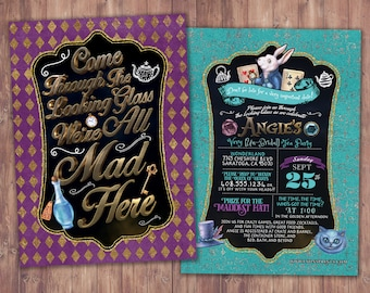 Bridal shower, Mad Hatter Tea Party, Alice in Wonderland Invitation /  Birthday Invitation / Printable for Birthday or Wedding / coed  Baby