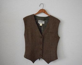 FREE usa SHIPPING Vintage Apparel wool vest/ waistcoat/ button up vest/ sleeveless vest/ revival/ back buckle vest/ size 40