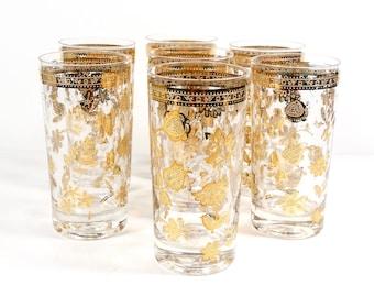Stunning Culver Floral 22K Tumblers - Set of 7 -Culver Ltd Chantilly Gold Embellished Glassware - Vintage Culver Midcentury