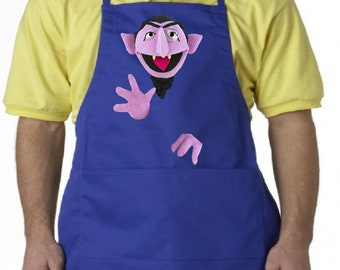 Count Von Count Adult Apron, Sesame Street Unisex Custom Apron, Your choice of 3 sizes!