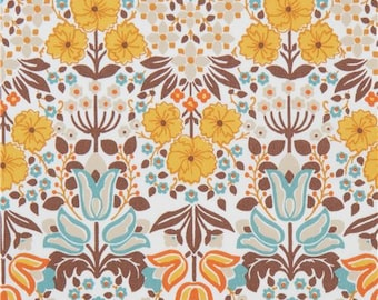 213043 cream with brown orange flower oxford fabric by Kokka