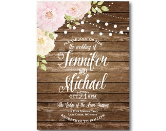 Rustic Wedding Invitation, Country Chic, Hanging Lights, Fall Wedding, Rustic Wedding, Wedding Invitation, Printed Wedding Invitation #CL156