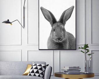 50%OFF,  Rabbit Print, Nursery Animal Print Wall Art  Bunny Animal Print Poster Digital Baby Bunny Wall Decor Rabbit Wall