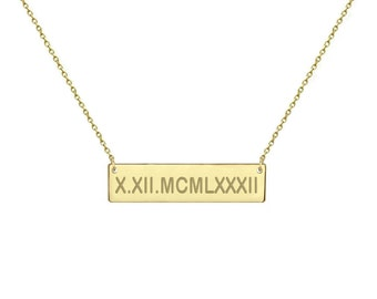 14k Solid Gold Bar Name Necklace Gold Bar Nameplate Necklace Personalized  Anniversary Gift  Wedding gift  Mothers day gift