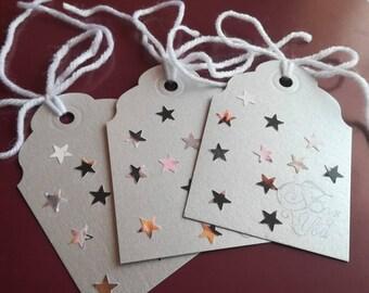 10 gift tags, For you gift tags, Gift Tags, Thank you gift tags, stars tags, stars gift tags, silver tags, wedding tags, grey tags, hang tag