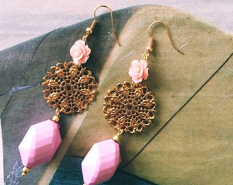Roses and rosettes, filigree drop earrings.