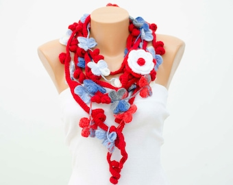 crochet lariat scarf, infinity chain scarf,  lariat  scarf, with  REMOVABLE  flower  brooch.