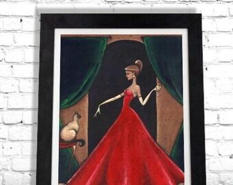 Wine Woman Art Print, Siamese Cat Art, Elegant Art, Wine Wall Hanging, Home Decor, Cat Lovers Gift, Fashion Illustration, Night Art by Shano