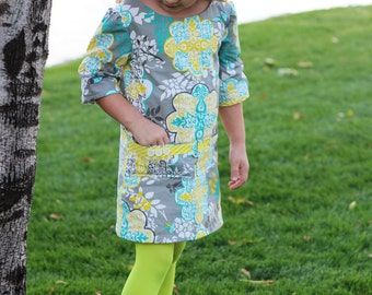 Adelaide A-Line Dress pdf sewing pattern for girls, girls fall dress pattern, girls Christmas dress pdf sewing pattern, long sleeve dress