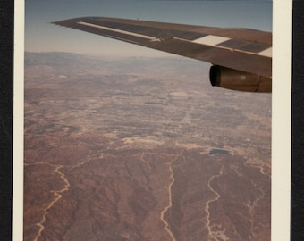 Vintage Color Snapshot Photo Through Airplane Window Wing and Town Near Las Vegas 1960's, Original Found Photo, Vernacular Photography