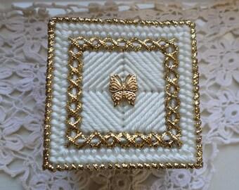 Gold Butterfly Trinket Box