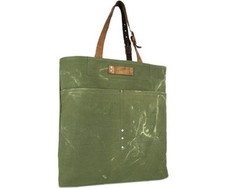 Large canvas bag with leather straps, green canvas bag, recycled canvas bag, large tote bag, shopping bag, beach bag