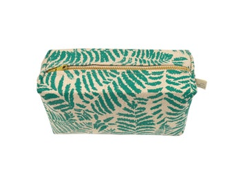 Torical Green / Small Toiletry Bag / Cosmetic Bag /Botanical Leaf /Grooming Kit /Travel Cosmetic Pouch /Dopp Kit /New Gifts / UK Made