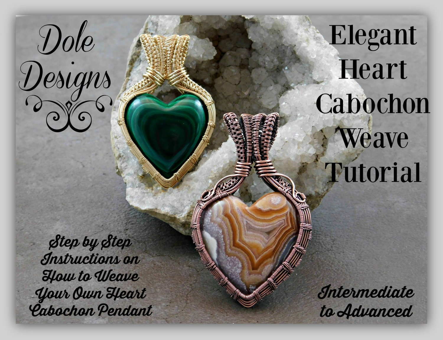 Elegant heart cabochon wire weave wrap tutorial zoom baditri Images