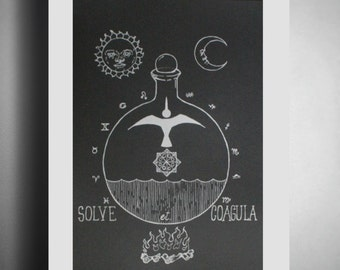 """Alchemy poster - Screen Printed Poster - Limited Edition """"Solve et Coagula"""" - original illustration - ON SALE FROM 22.00!!"""