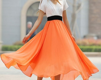orange and white dress, chiffon dress, maxi dress, bridesmaid dress, summer dress, prom dress, fit and flare dress, gift ideas 926