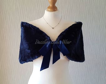 Navy / Dark Blue Faux Fur Stole With Ribbon UK 8-20/ US 4-16 /  Bolero / Shrug / Jacket / Shawl / Wrap / Satin Lining