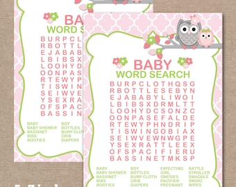 INSTANT DOWNLOAD, Owl Baby Shower Word Search, Printable Baby Shower Games, Baby Shower Games, Owl, Word Search, girl (#509)