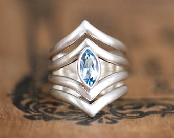 Blue topaz ring silver, marquise ring, statement ring, chevron ring, geometric ring, artisan ring, fine jewelry arrow ready to ship size 7.5