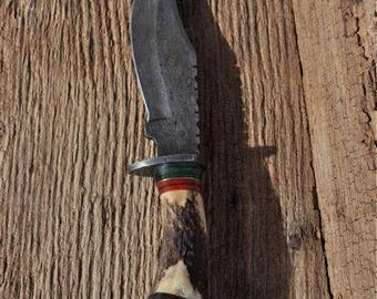 DAMASCUS STEEL 9.5 inch + long hunting KNIFE
