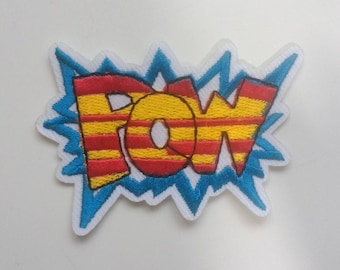 Embroidered POW Patch Iron on Applique Superhero Cartoon Bubble Yellow Red & Blue