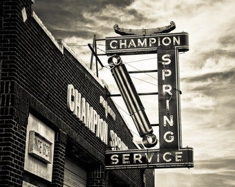 Fort Worth, Texas, Building, Architecture - Champion Spring Service Sepia