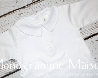 Baby Boy Christening Outfit - Baptism Outfit - Dedication Outfit - Baby Boy Outfit - Newborn Pictures Outfit - Collared Romper - Pima Cotton