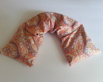 Heating Pad Microwavable, Hot Pack, Hot Cold Wrap, Microwave Heating Pad, Flax Seed, Scented or Unscented- peach paisley