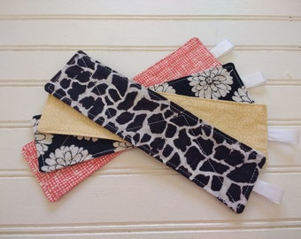 Set of 4 Reversible Quilted Bookmarks - Mixed Prints