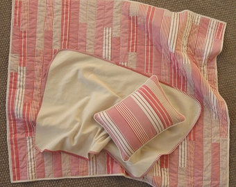 Modern organic and recycled crib quilt - red striped shirting - Gender neutral