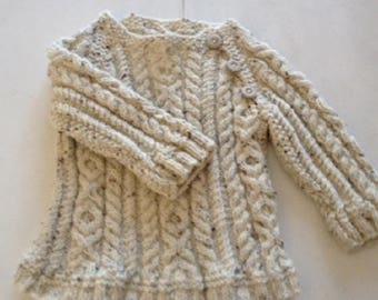 Baby chunky jumper knit, cable knitted sweater, heritage aran hand knit, kids knit top, unisex, knitted baby clothing, handmade baby sweater