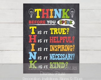 Think before you speak, Classroom decor, classroom sign, classroom posters, teacher classroom decor, Teacher gifts, teacher appreciation