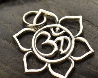 Yoga Jewelry Spiritual Ohm Pendant Lotus with Ohm Om Aum Center 925 Sterling Silver 1363