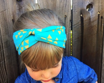 Adult or Child Turban Headband, Aqua & Mustard, Baby Turban, adult headband, Baby Headwrap, Turban Headband, Twisted Headband