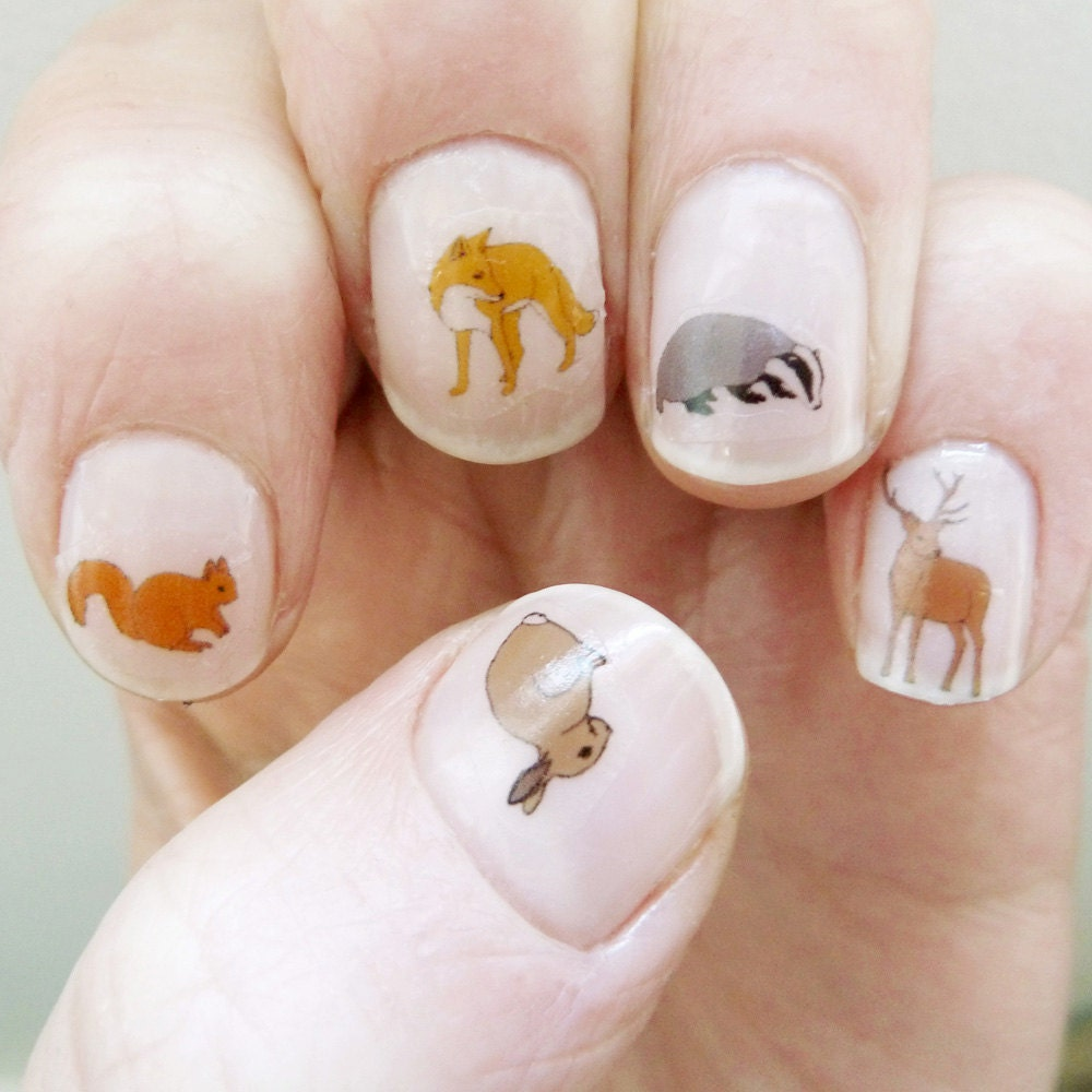 woodland nail transfers - illustrated animal nail art decals ...