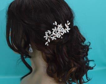 Rose Gold Wedding Comb, Bridal Hair Comb, Rhinestone Bridal Comb, Floral Wedding Hair Comb, Headpiece, Vintage Bridal Side Comb CO-030