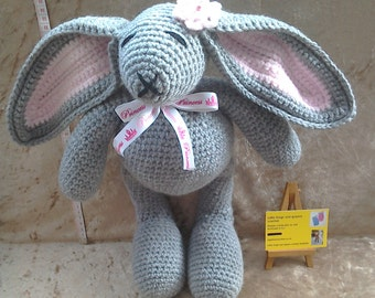 Kids gift, grey big bunny toy, crochet bunny, crochet animal, crochet rabbit toy.