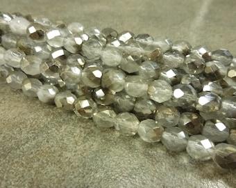Czech Glass Firepolish Beads Gray 1/2 Metallic 8mm Faceted Glass 16pc