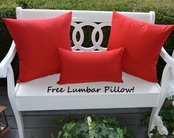 "Set of 2 - 20"" Indoor / Outdoor Solid Color Throw Pillows + FREE LUMBAR PILLOW - Choose Solid Color"