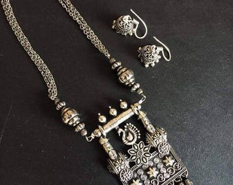 Indian jewellery traditional necklace with jhumkas in silver oxidised tone