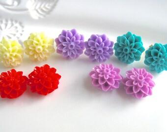Red Flower Earrings, Yellow Flower Earrings, Purple Flower Earrings,  Dahlia Earrings