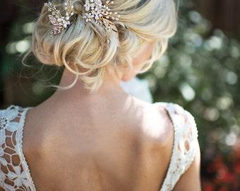 "Hair Vine Comb Pin Set, Boho Wedding Hair Accessory Gold, Rose Gold, Silver, Flower Hair Vine, Wedding Hair Comb - ""CALLIE"""