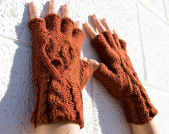 Women's rust orange half-finger heart gloves, gift for her, wool knit gloves, fingerless gloves, texting gloves, smoking gloves, hearts
