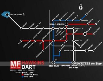 DART Demodog Area Rapid Transit - Mind Flayer Hawkins Map Men's Unisex T-Shirt - 1980's Subway BART Map Parody Clothing