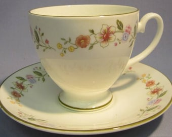 Crown Staffordshire Constance Tea Cup and Saucer