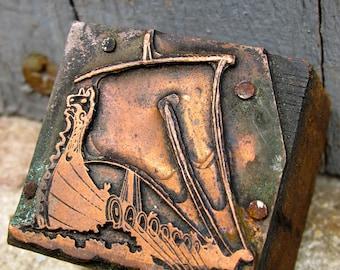 Antique Letterpress Viking Ship Copper and Wood Printing Block Stamp - Printer Block - Printing Plate - Vintage Stamp - Karvi - Karve - Boat