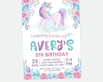 Unicorn Birthday Invitation, Magical Birthday Party, Floral Unicorn Invitation, Spring Summer Unicorn, Personalized DIGITAL Invitations