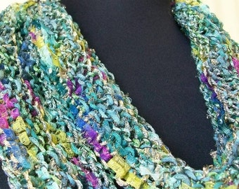 SALE REDUCED Hand Knit Green, Yellow and Pink Scarf  Wrap - Garden Parfait