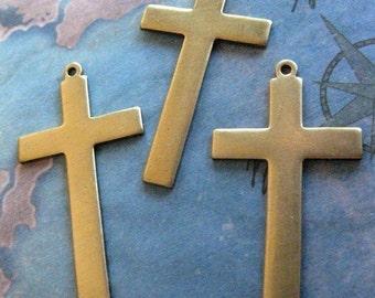 2 PC Solid Brass Cross Pendant - W0006