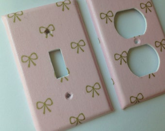 Pink Gold Metallic Bow Single Light Switch Cover / Gold Home Decor / Gold Bedroom Decor / Gold Nursery /Gold Pink Nursery / Baby Gift
